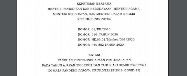 Bapak/Ibu Ini Surat Keputusan Bersama 4 Menteri Pembukaan Sekolah dan Pembelajaran Tatap Muka di Zona Hijau