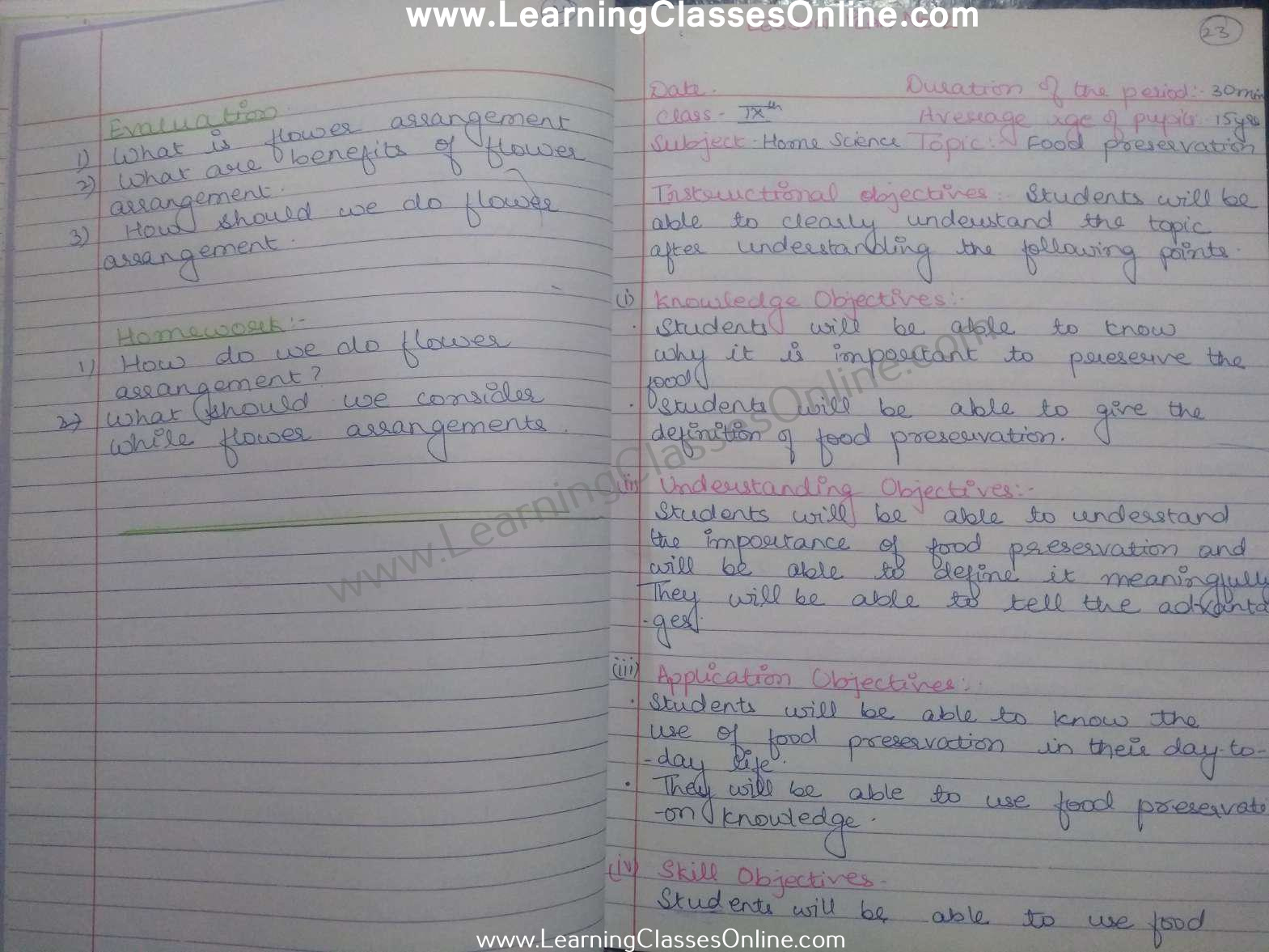 Home Science Lesson Plan in English