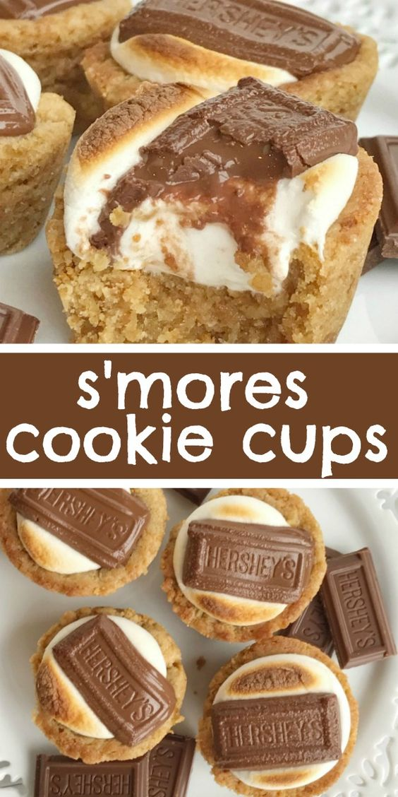 Smores Cookie Cups #recipes #dessertrecipes #easyrecipes #easydessertrecipes #food #foodporn #healthy #yummy #instafood #foodie #delicious #dinner #breakfast #dessert #lunch #vegan #cake #eatclean #homemade #diet #healthyfood #cleaneating #foodstagram