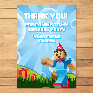 Minecraft Thank You Card Steve