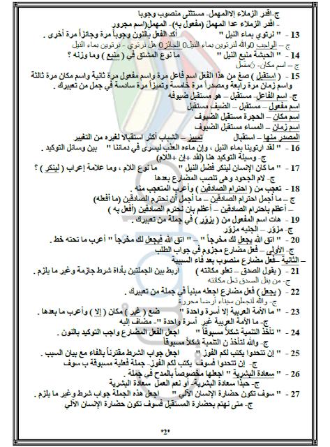 مذكرة مراجعة فى مادة النحو للصف الثالث الثانوى