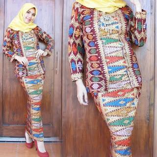 Kebaya batik casual hijab modis elegan