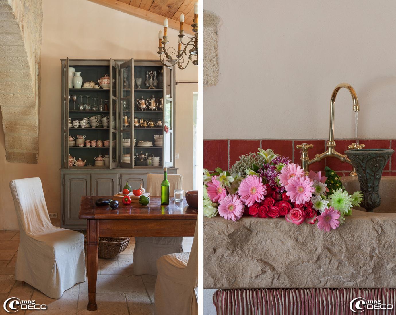 Vaisselier et pile en pierre dans une cuisine de style provençale