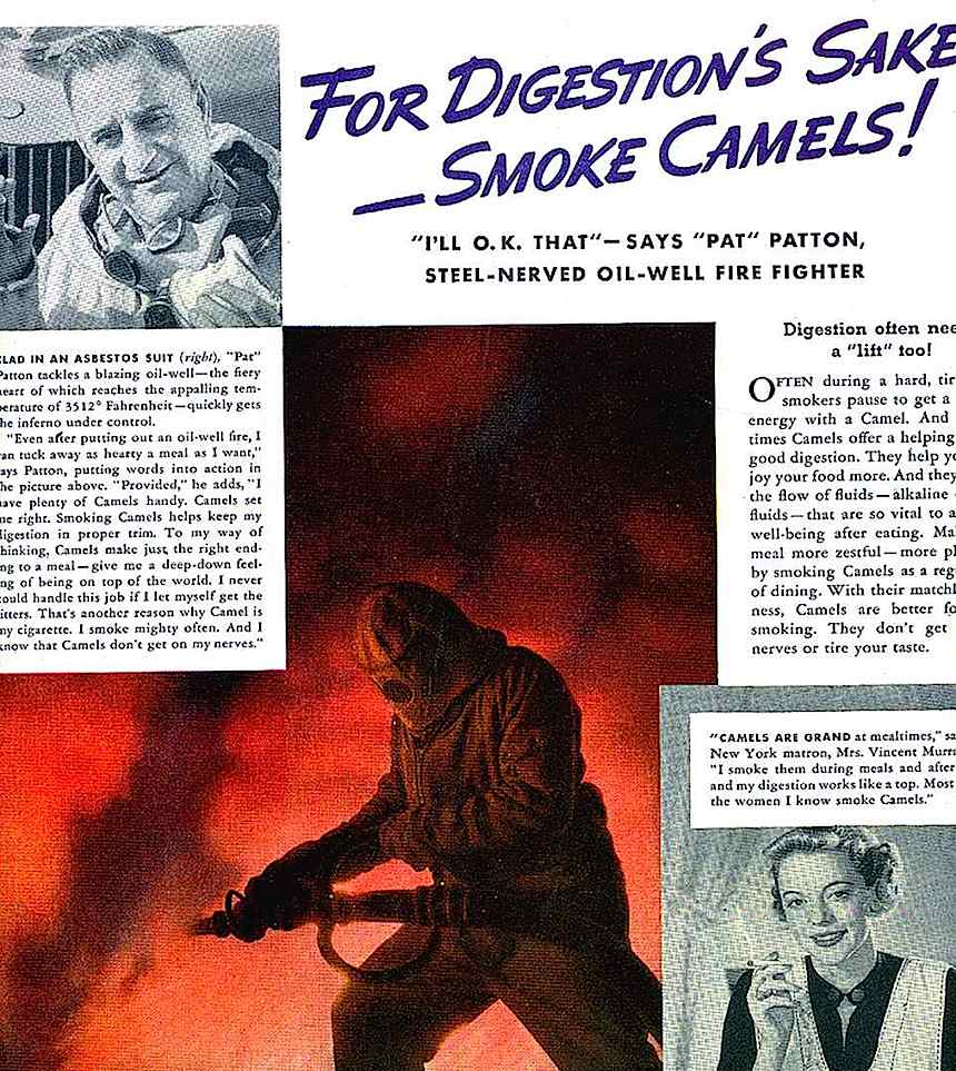 1950s Camels cigarettes ad, Smoking aids digestion