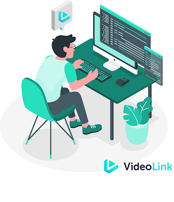 man on computer with code screens and Video link logo at bottom