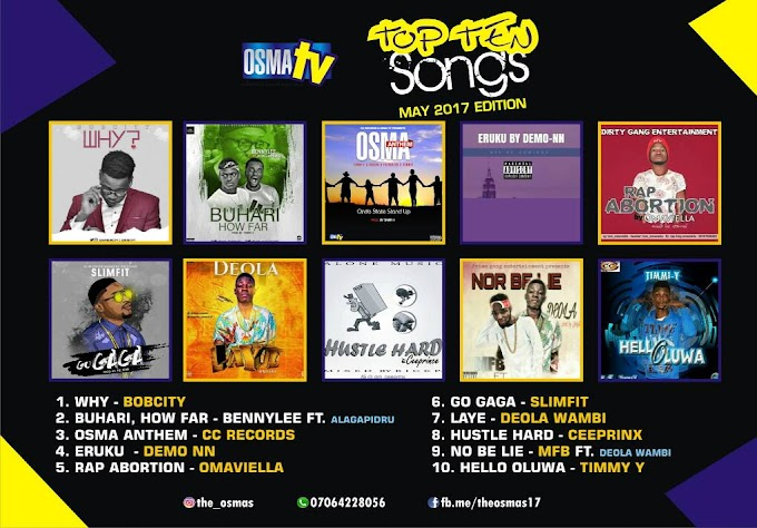 TOP 10 SONGS IN ONDO STATE (MAY 2017 EDITION)