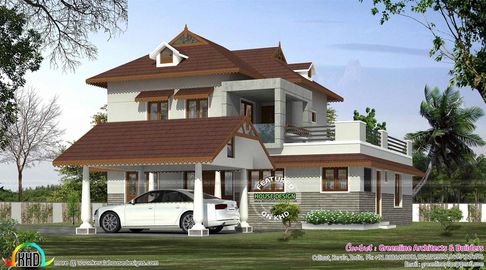 Sloped roof modern home plan 1415 sq ft kerala home for Modern sloped house design