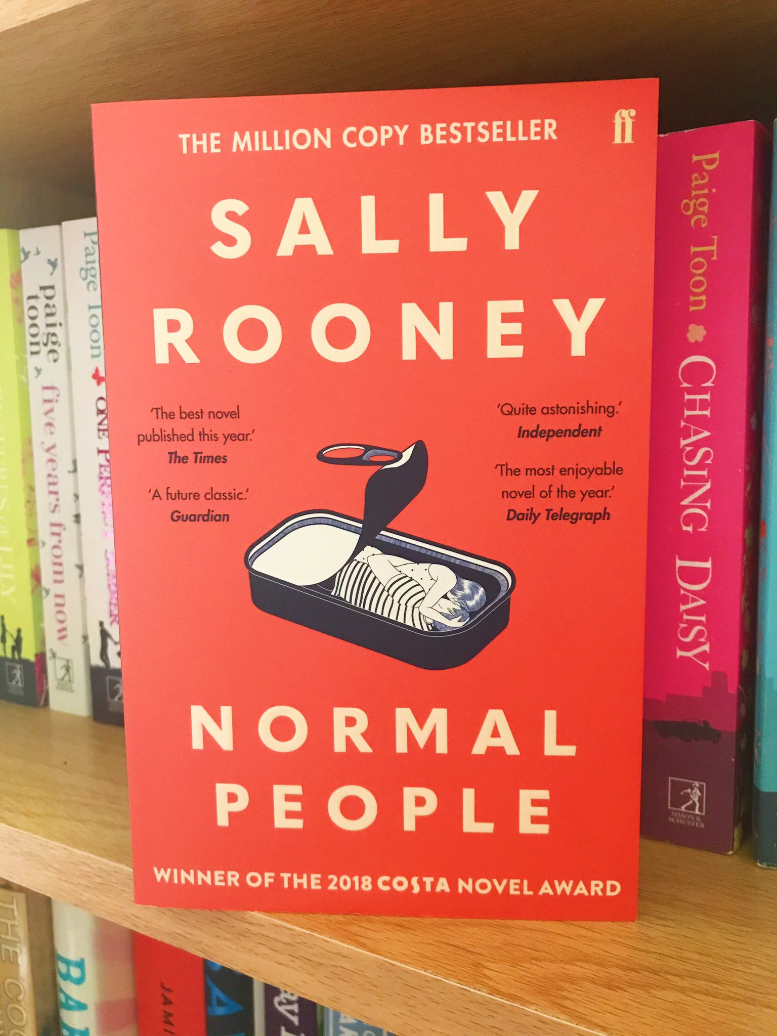Normal People by Sally Rooney on bookshelf