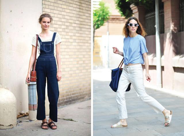 Девушка в комбинезоне из денима и белых джинсах в биркенштоках