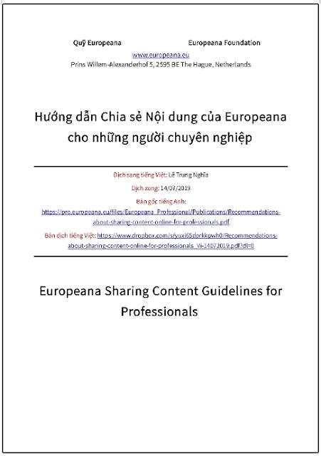 'Hướng dẫn chia sẻ nội dung của Europeana cho những người chuyên nghiệp' - bản dịch sang tiếng Việt