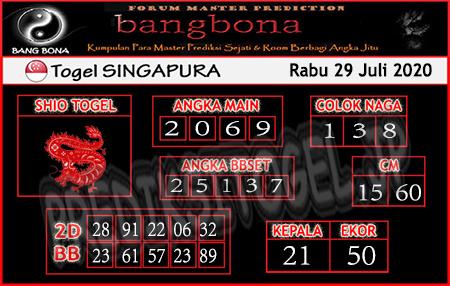 Prediksi Togel Bangbona Singapura Rabu 29 Juli 2020