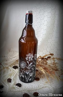 красивая, бутылка, рисунок, по, стеклу, контур