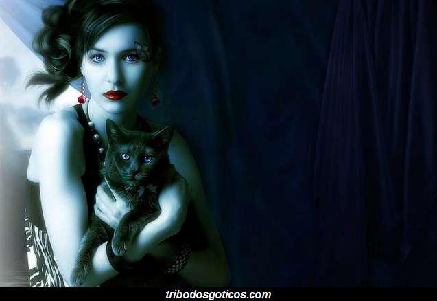 gotica vampira gato preto escuridao