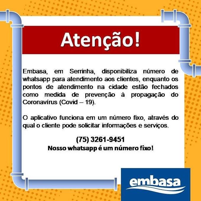 Embasa disponibiliza número de whatsapp para atendimento aos clientes nos municípios de Serrinha e Lamarão