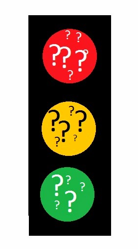 graphic of traffic signal with question marks in red, yellow, and green circules