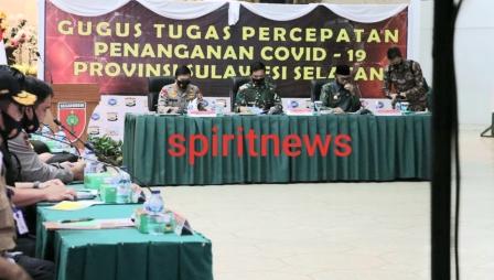 Panglima TNI dan Kapolri Gelar Rapat Terbatas Dengan Tim Gugus Percepatan Penanganan Covid 19 Propinsi Sulsel