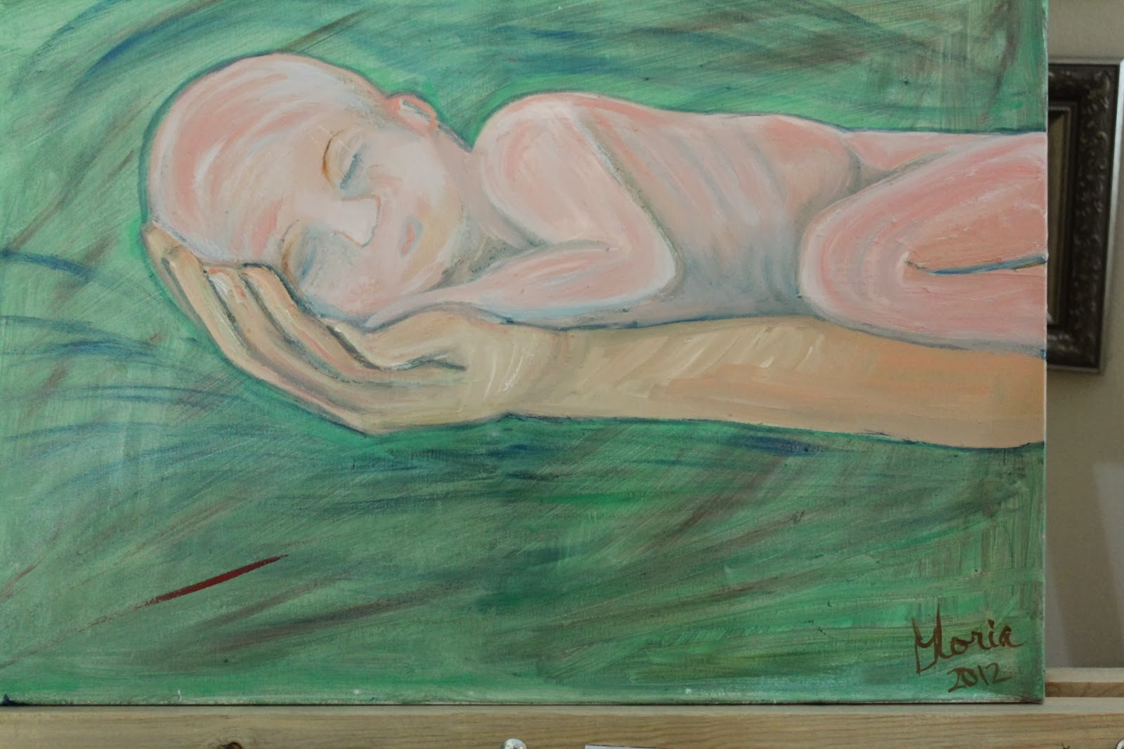 Baby sleeping on daddy's arm oil painting byGloria Poole of Missouri; yr 2012