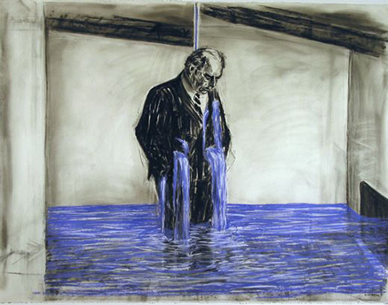 William Kentridge  Drawing for Stereoscope, Untitled, 1998-99  charcoal, pastel and colored pencil on paper 120 x 160 cm
