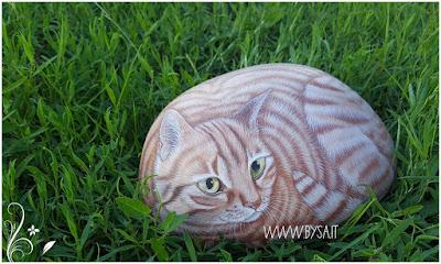 prezzi sassi dipinti gatto tigrato