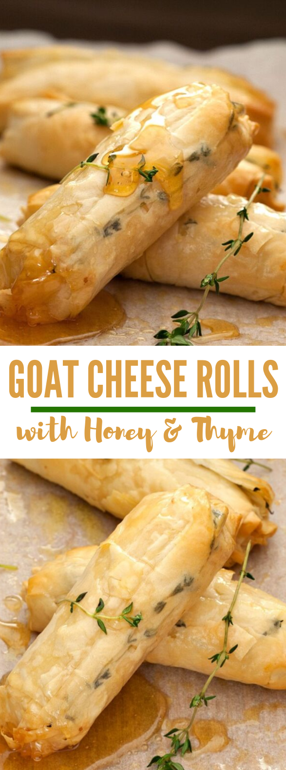 BAKED GOATS CHEESE ROLLS WITH HONEY AND THYME #dinner #appetizers
