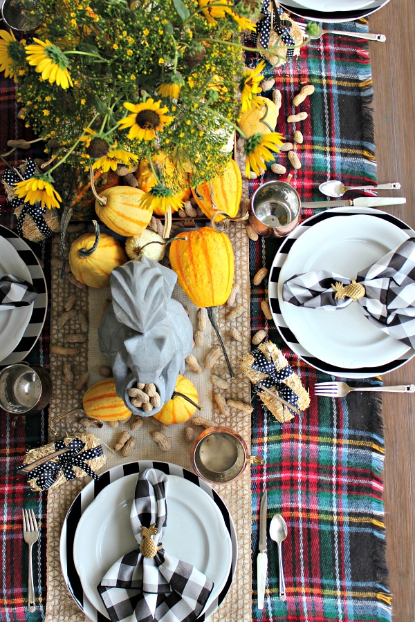 outdoor dining area, fall table setting
