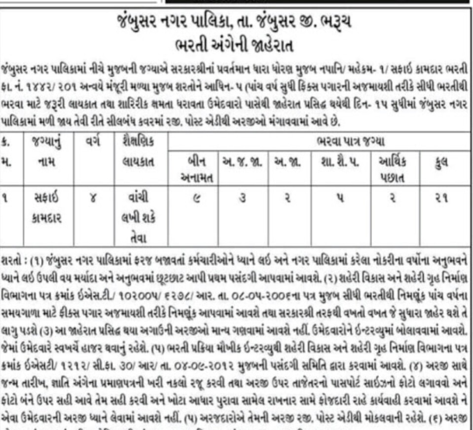 Jambusar Nagarpalika recruitment for Safai Kamdar 2021: Find All Details here