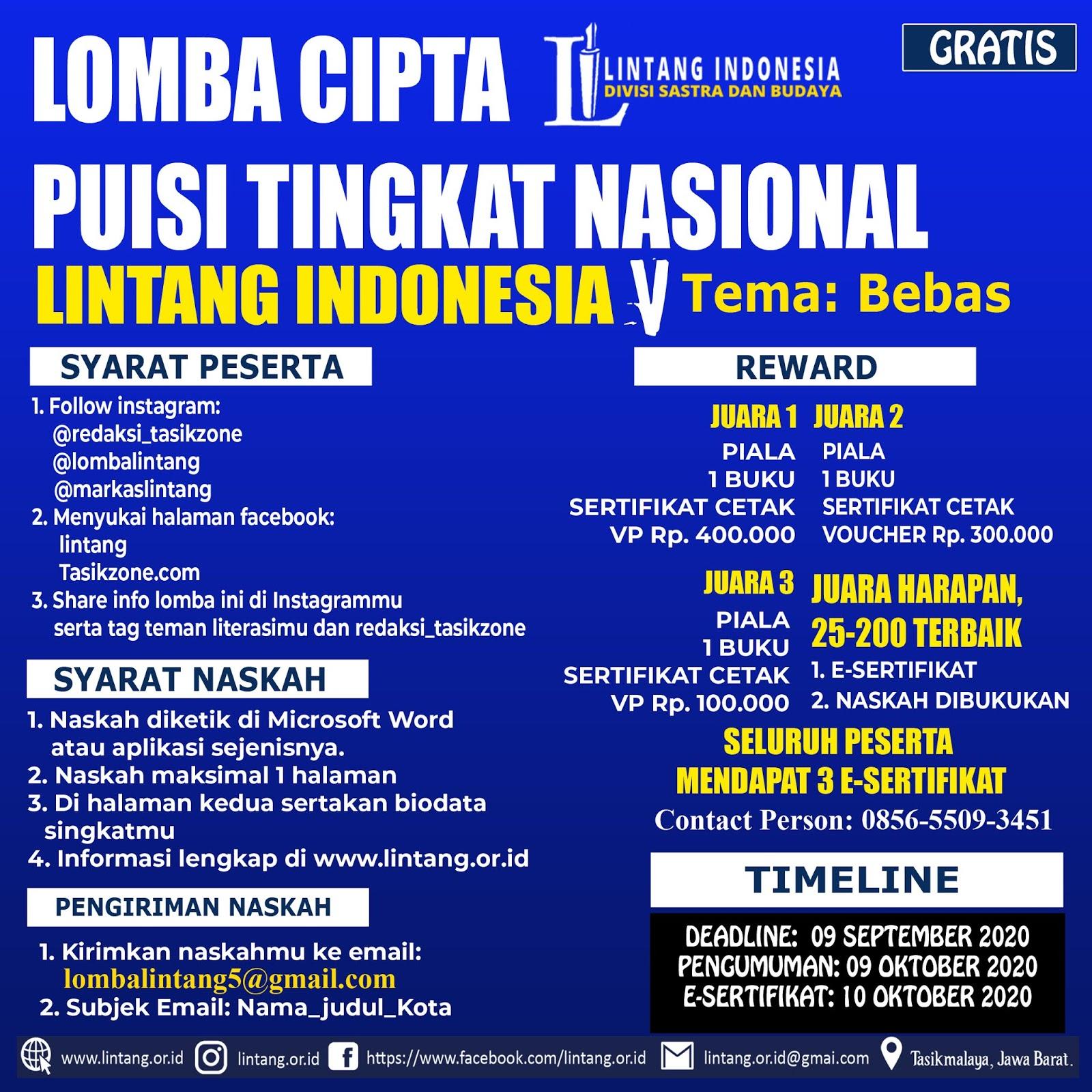 LOMBA CIPTA PUISI TINGKAT NASIONAL LINTANG INDONESIA TEMA BEBAS DEADLINE 09 SEPTEMBER 2020 PART V