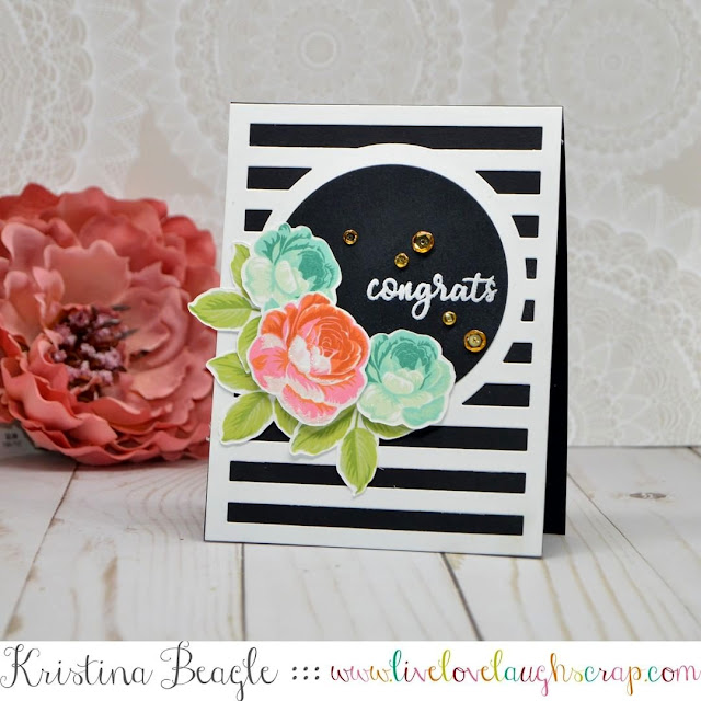 Sunny Studio Stamps: Everything's Rosy Black & White Striped Rose Card by Kristina Beagle