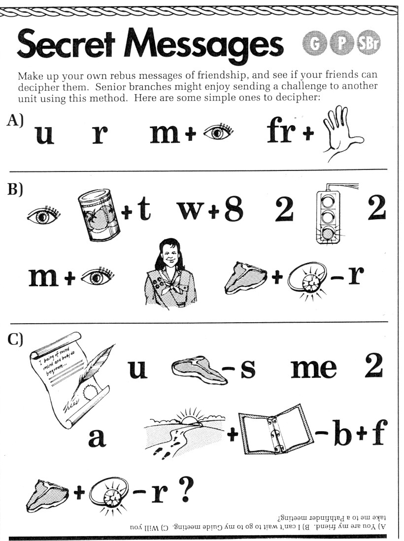 worksheet Rebus Puzzle Worksheets owl toadstool rebus messages if you have ever visited my website lee anns girl guide notebook may already seen this activity i had originally scanned it from