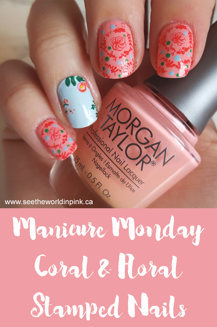 Manicure Monday - Eclectic Coral Stamped Floral Nails