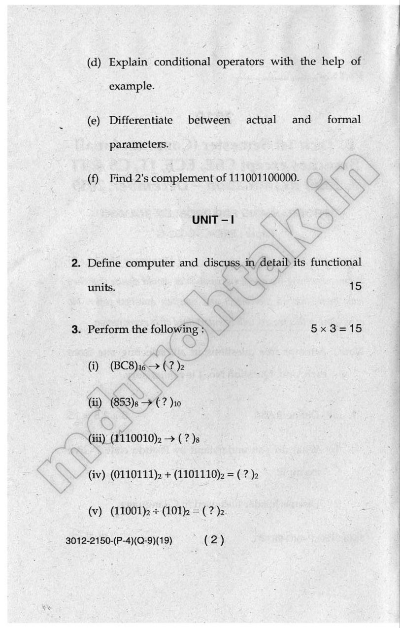 Download Programming for Problem Solving - Question Paper - B.Tech. 1st Year - December 2019 for free