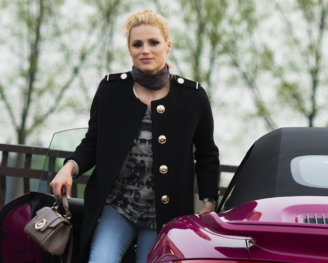 Michelle Hunziker Driving Her New Porsche Out in Milan