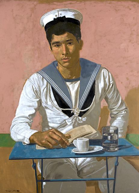 Yannis Tsarouchis (1910-1989), Ναύτης που κάθεται στο τραπεζάκι, φόντο ροζ Sailor sitting at the table, pink background, 1980 Basil & Élise Goulandris Foundation, Athens