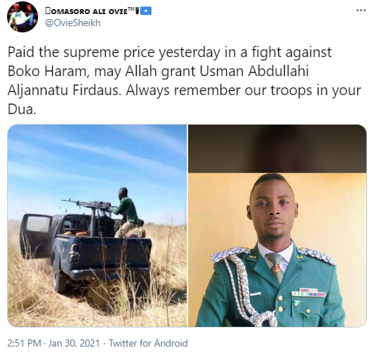 Sad! Nigerian soldier dies during fight with Boko Haram