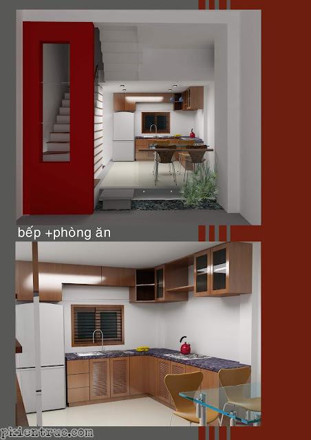 Nội thất sảnh cầu thang tầng trệt và phòng bếp ăn hiện đại