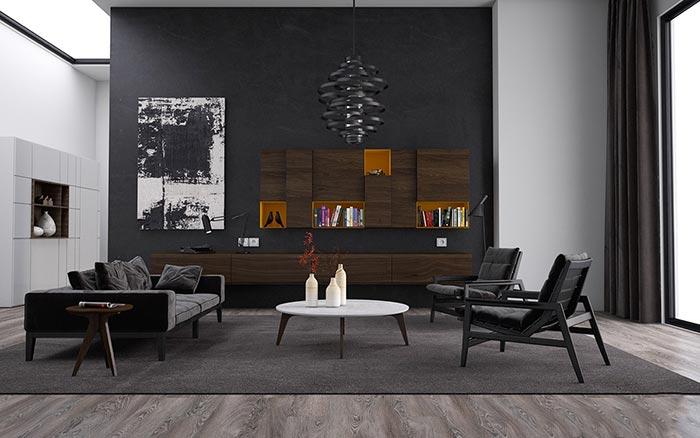 Yüksek tavanlı siyah oturma odası dekorasyonu
