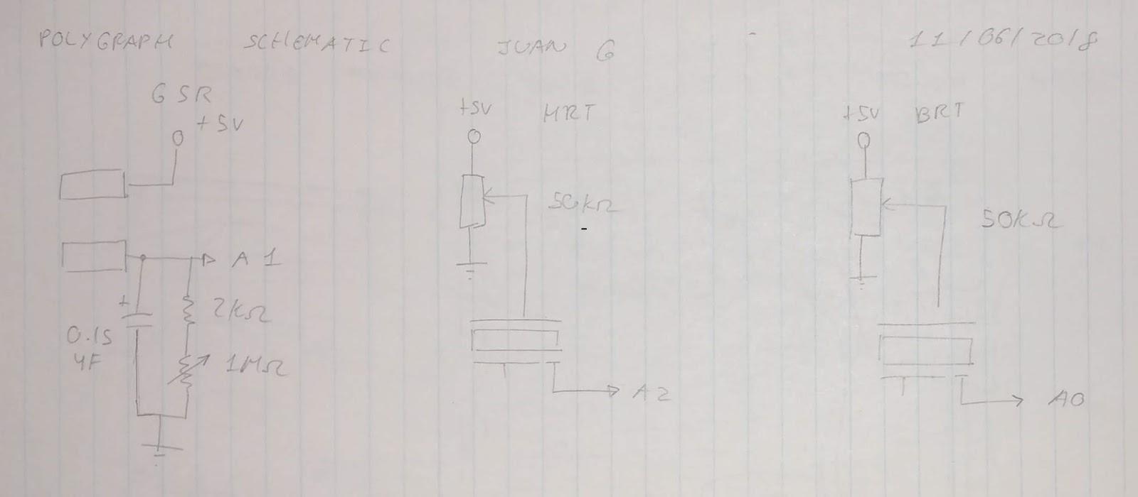 Схема датчиков полиграфа на Arduino