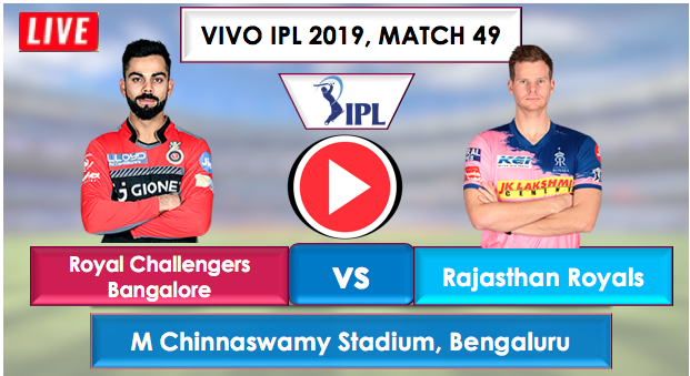 Match 49: RCB vs RR Live Streaming Online free