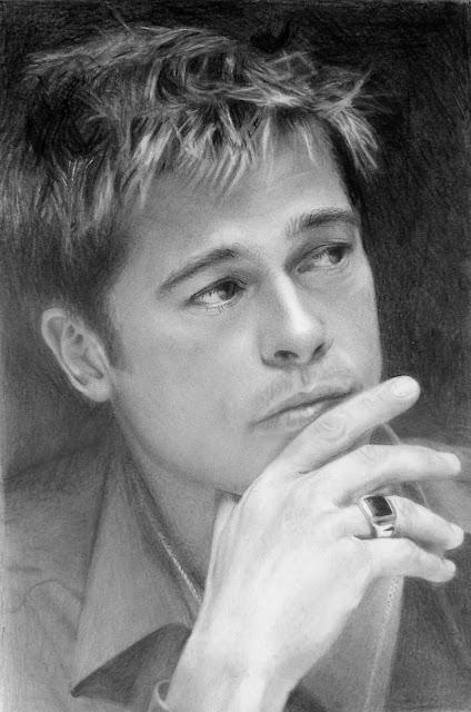 Brad+Pitt+portrait+by+Silvia+Reis
