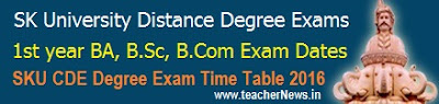 SKU Distance Degree 1st 2nd 3rd year Exam Time Table 2017 BA BSc B.Com Schedule