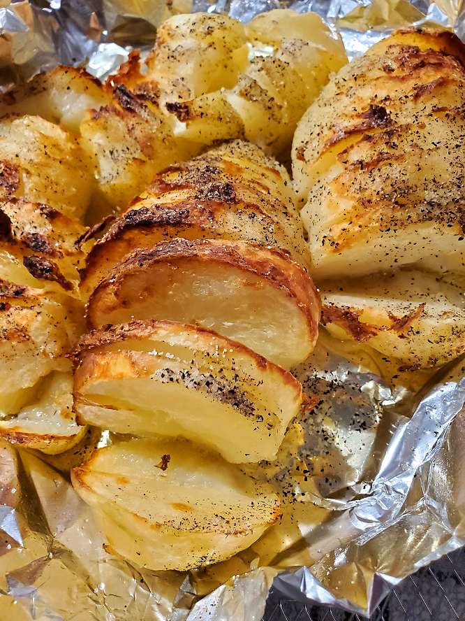 these are hasselback potatoes or fan potatoes air fried on foil