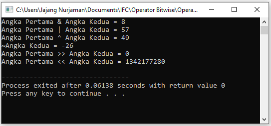 contoah aplikasi operator bitwise c++