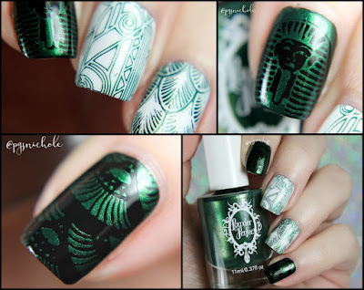 Powder Perfect Metallic Green Stamping Polish | over Black and White Stamping Polishes