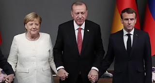 """بسبب """"كورونا"""".. قمة أردوغان وماكرون وميركل تُعقد بالفيديو كونفرانس"""