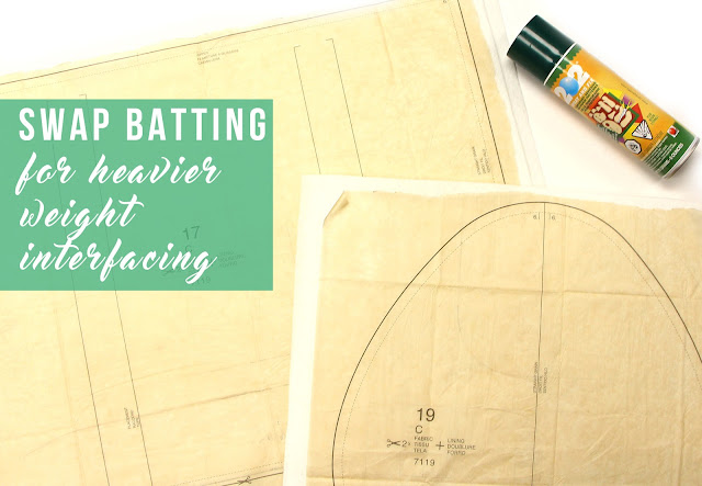 Swap batting for heavier weight interfacing