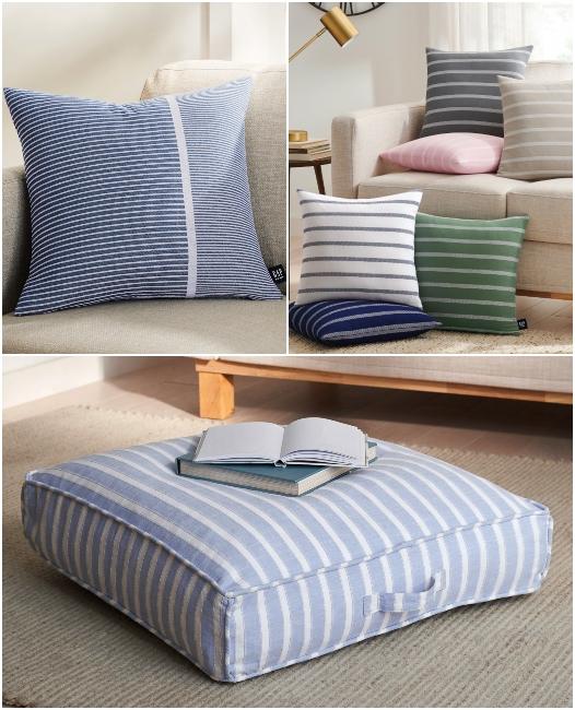 Blue Stripe Organic Cotton Pillows