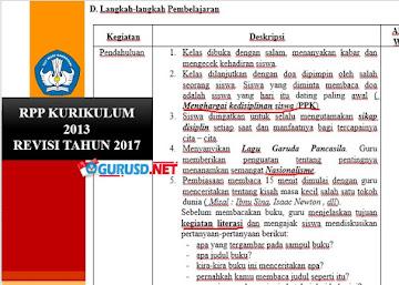 Unduh RPP Kurikulum 2013 Revisi 2017 Format baru