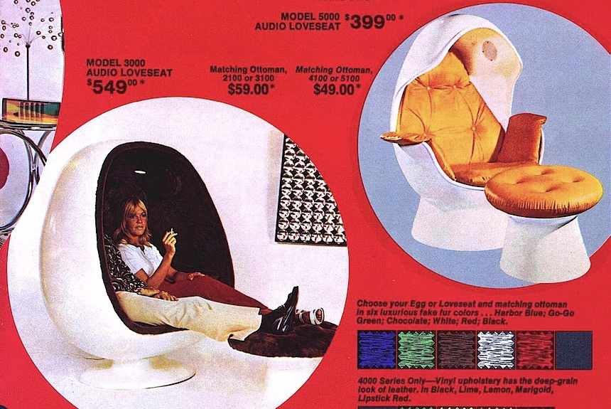 love seats and audio eggs advertisement 1972