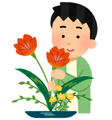 生花をする人のイラスト(男性)