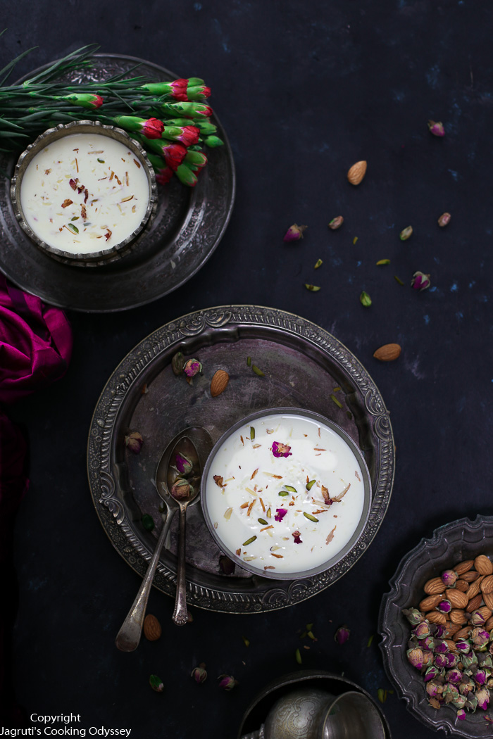Rich and aromatic Doodh Paak - a Gujarati style rice pudding is made with basic ingredients such as rice, milk, and sugar and is the quintessential Gujarati dessert made in almost every Gujarati household and enjoyed with Poori/Puri.